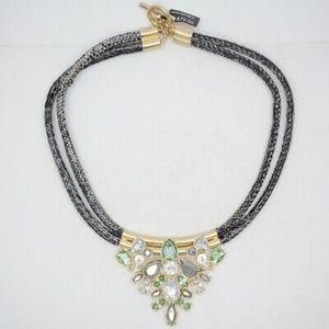 Banana Republic Green Grey Crystal Rope Necklace